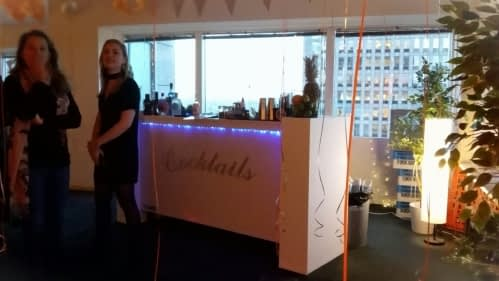 cocktailbar bij Virtuagym in Amsterdam 08-09-2018