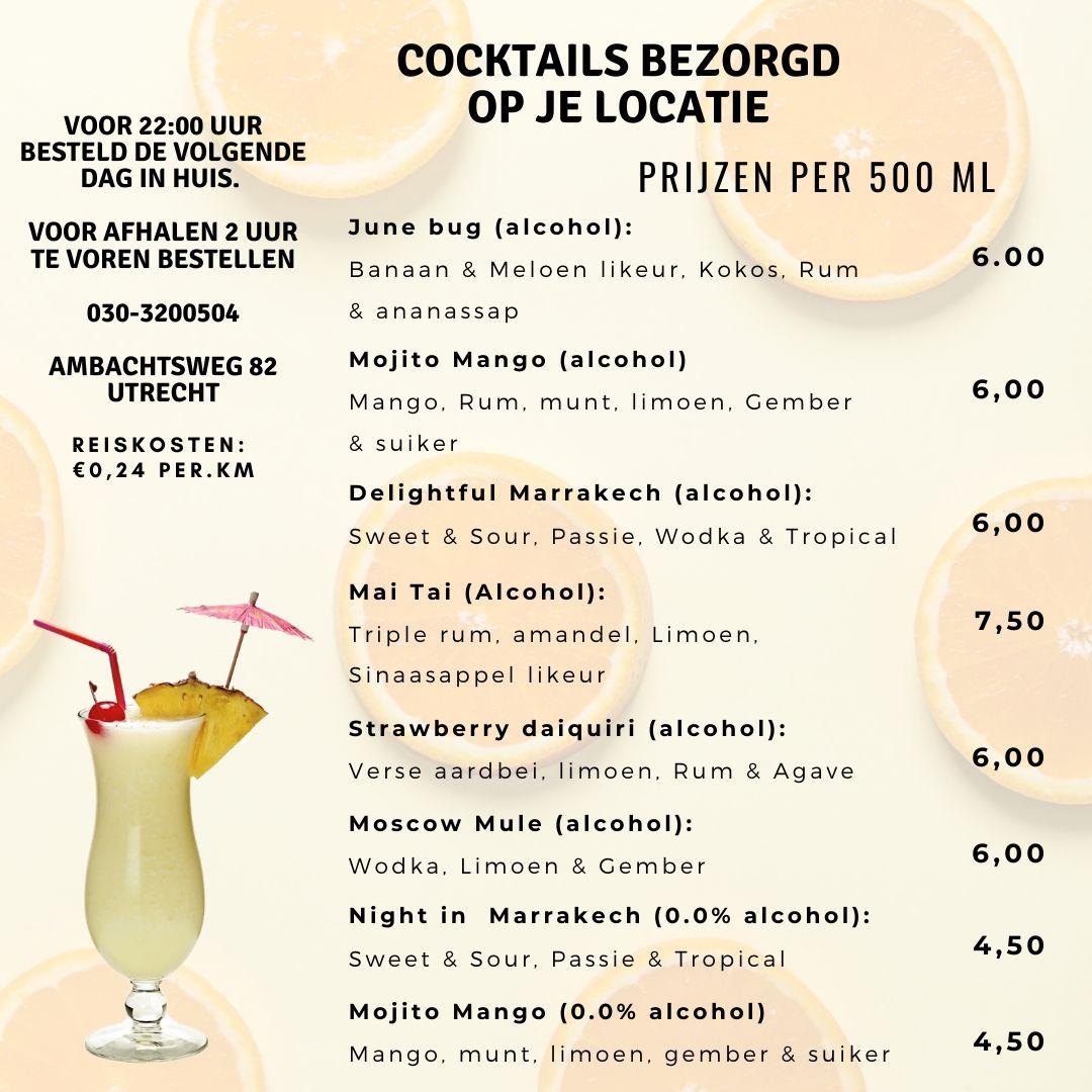 cocktails bezorgd op locatie