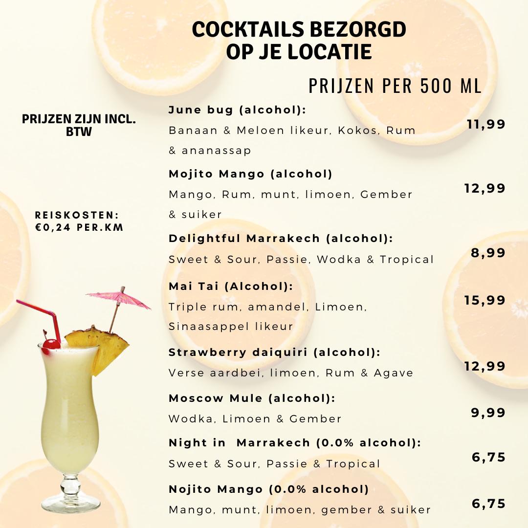 prijzen kant en klaar cocktails