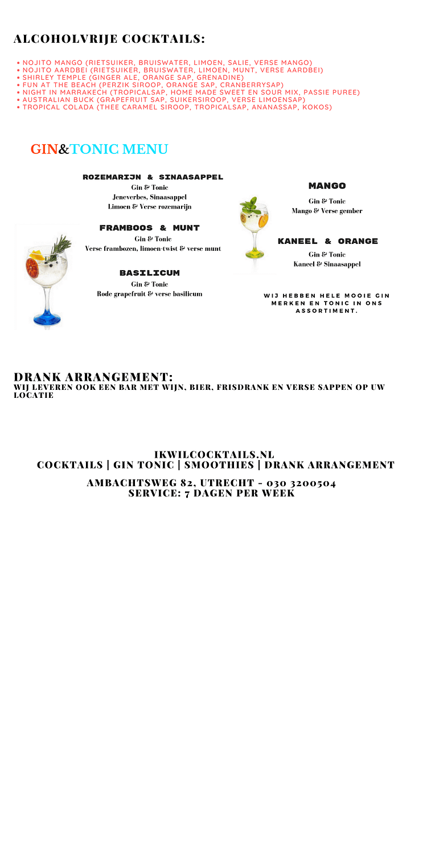 cocktail menu van ikwilcocktails